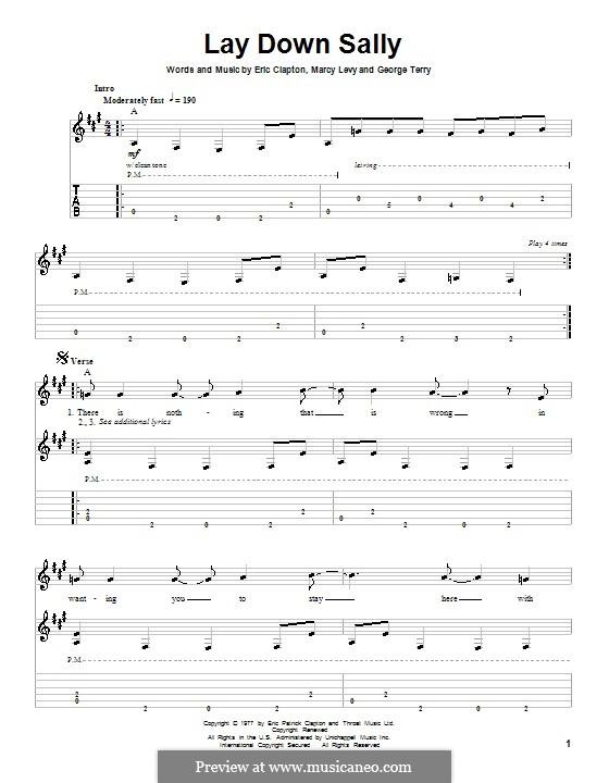 lay down sally tab pdf