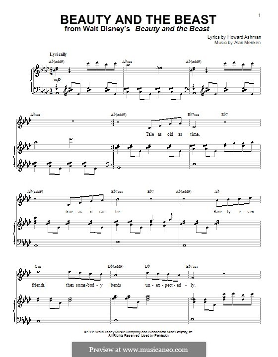 Beauty and the Beast (Celine Dion and Peabo Bryson): For voice and piano or guitar (A Flat Major) by Alan Menken
