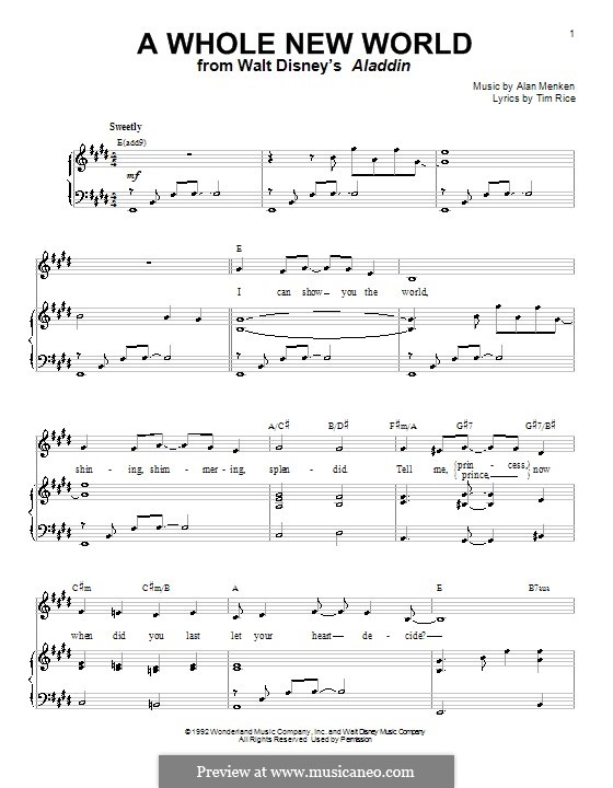 A whole new world from ALADDIN JR. sheet music for Piano ...