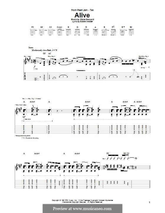 Pearl Jam Alive Sheet Music Alive Pearl Jam by s