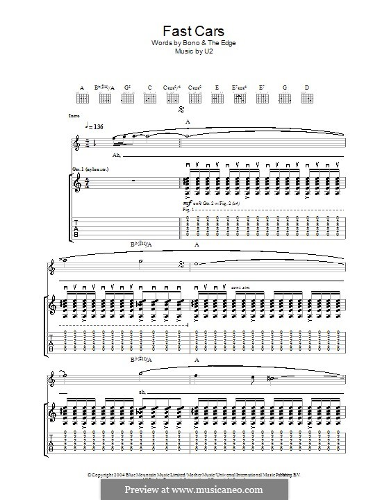 fast cars by u2 sheet music on musicaneo. Black Bedroom Furniture Sets. Home Design Ideas