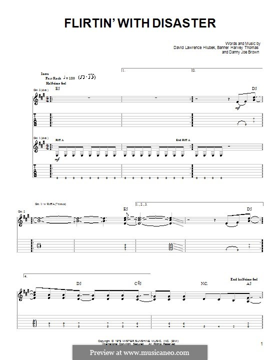 flirting with disaster molly hatchet guitar tabs chords charts printable