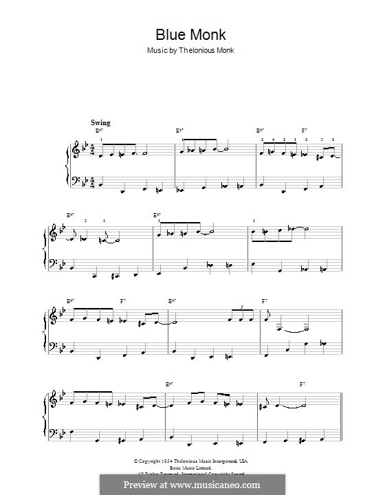 blue monk sheet music pdf