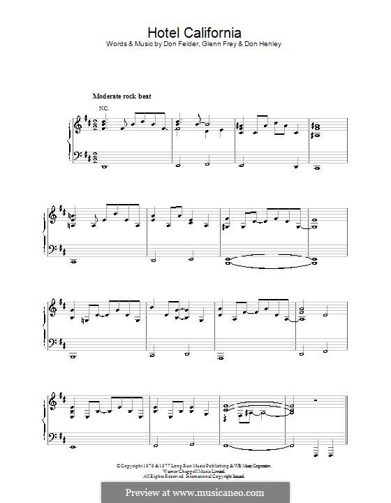 sheet music for hotel california guitar pdf