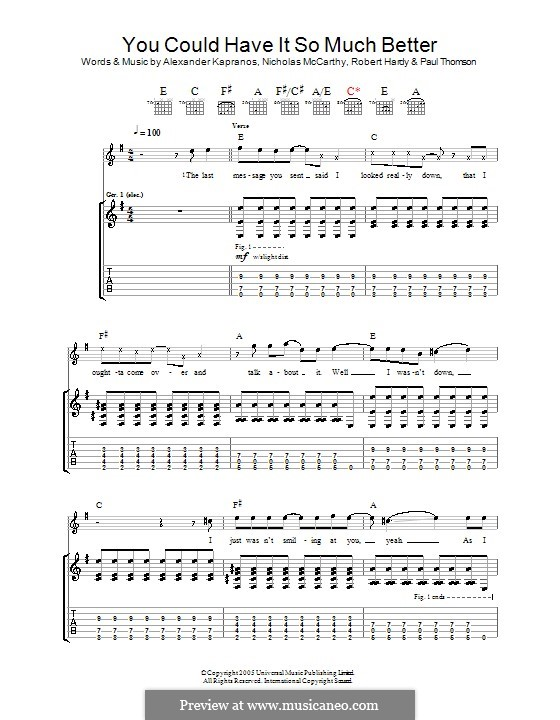 You Could Have It So Much Better (Franz Ferdinand): For guitar with tab by Alexander Kapranos, Nicholas McCarthy, Paul Thomson, Robert Hardy