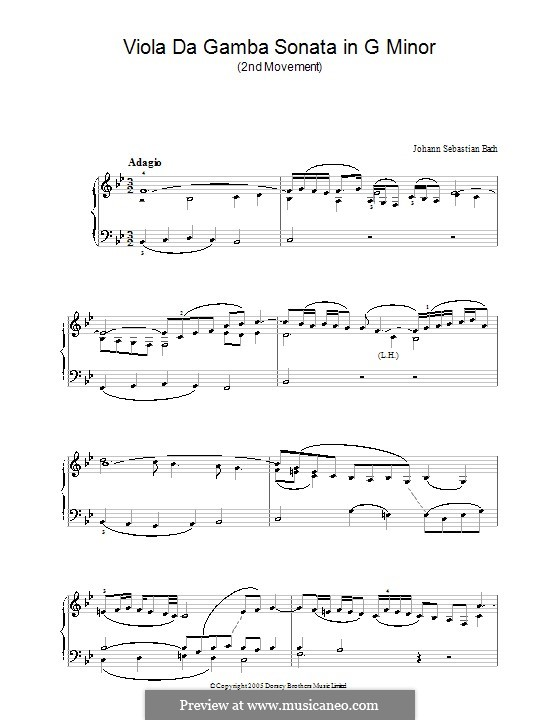 Sonata for Viola da Gamba and Harpsichord No.3 in G Minor, BWV 1029: Movement II. Version for piano by Johann Sebastian Bach