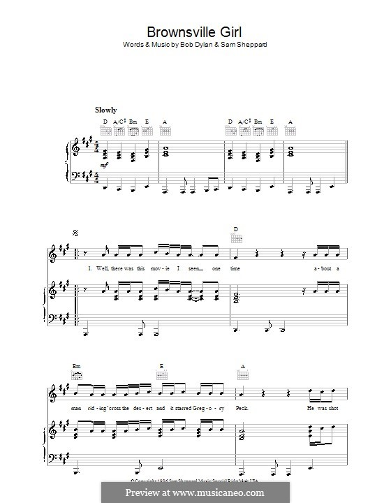 Brownsville Girl: For voice and piano (or guitar) by Bob Dylan, Sam ...