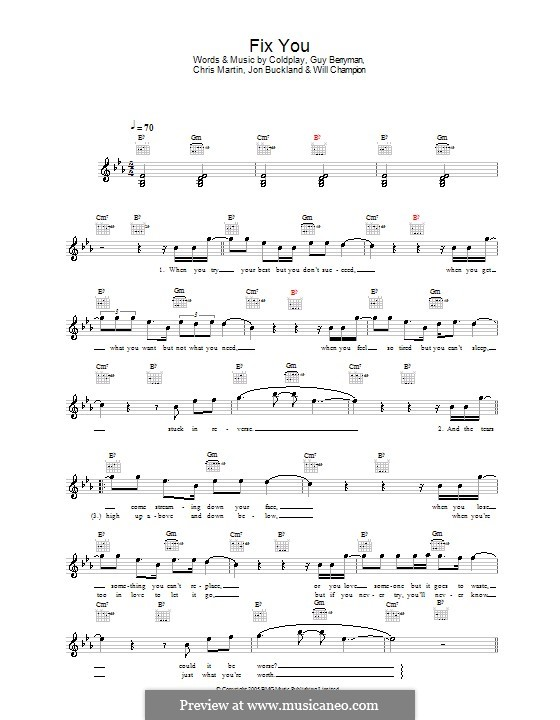 Guitar fix you guitar chords : Fix You (Coldplay) by C. Martin, G. Berryman, J. Buckland, W ...