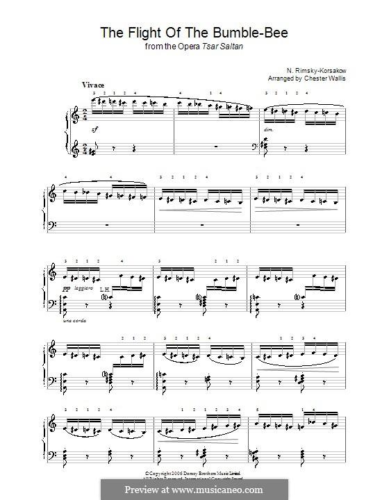 The Tale of Tsar Saltan. Opera: Flight of the Bumblebee, for piano by Nikolai Rimsky-Korsakov