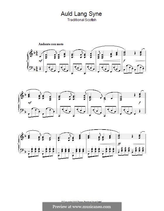 Auld Lang Syne: For piano (high quality sheet music) by folklore