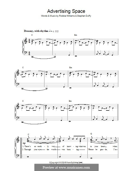 Advertising Space: For easy piano by Robbie Williams, Stephen Duffy