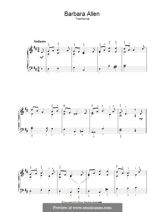 Barbara Allen: For easy piano by folklore