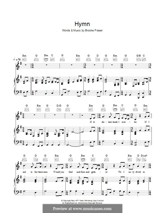 Hymn: For voice and piano (or guitar) by Brooke Fraser