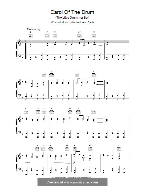 Carol of the Drum (The Little Drummer Boy): For piano by Katherine K. Davis
