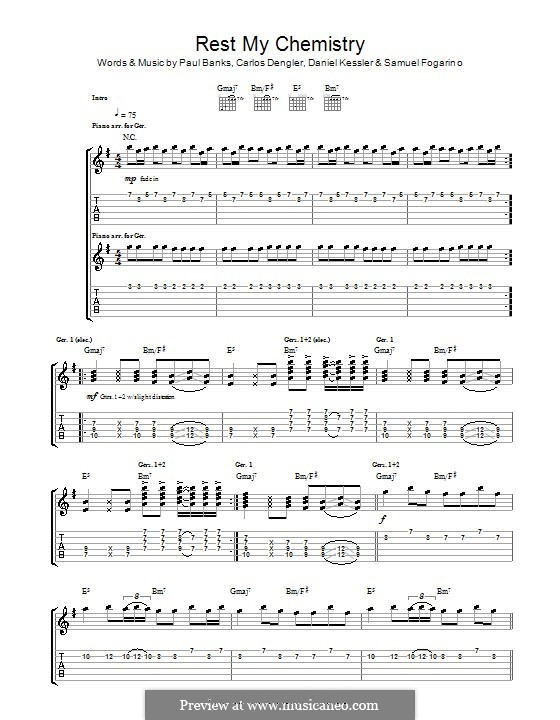 Rest My Chemistry (Interpol): For guitar with tab by Carlos Dengler