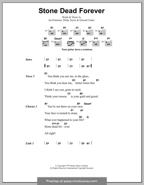 Stone Dead Forever (Metallica): Lyrics and chords by Edward Clarke, Ian Kilmister, Philip Taylor
