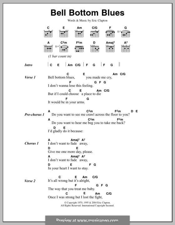 Bell Bottom Blues (Derek and The Dominos): Lyrics and chords by Eric Clapton