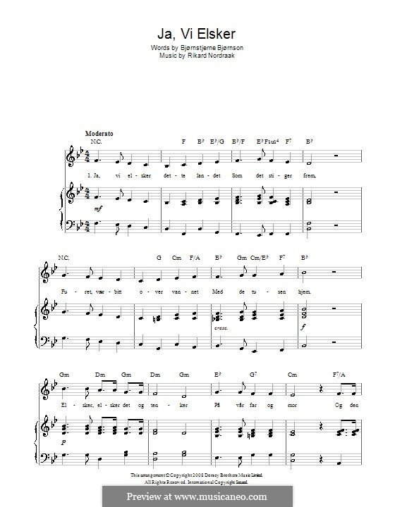 Ja, Vi Elsker (Norwegian National Anthem): For voice and piano (or guitar) by Rikard Nordraak