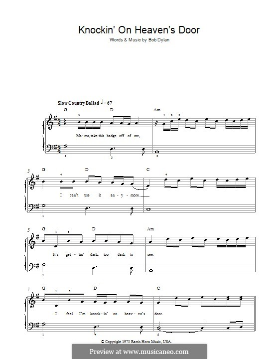 Knockin' on Heaven's Door: For easy piano by Bob Dylan