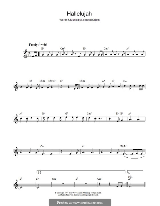 Hallelujah: For saxophone by Leonard Cohen