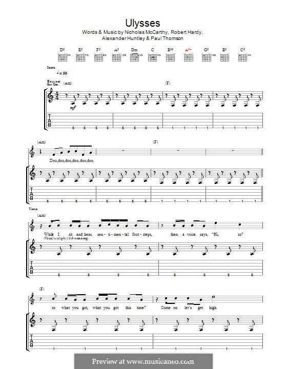Ulysses (Franz Ferdinand): For guitar with tab by Alexander Huntley, Nicholas McCarthy, Paul Thomson, Robert Hardy