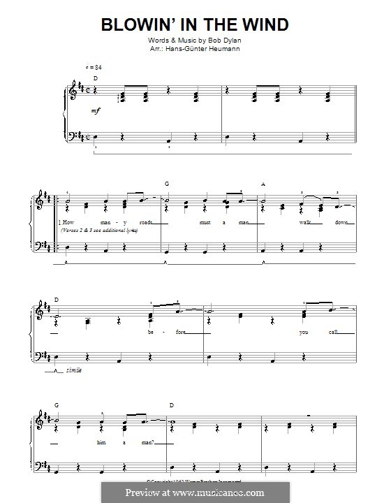 Blowin' in the Wind: For voice and piano by Bob Dylan
