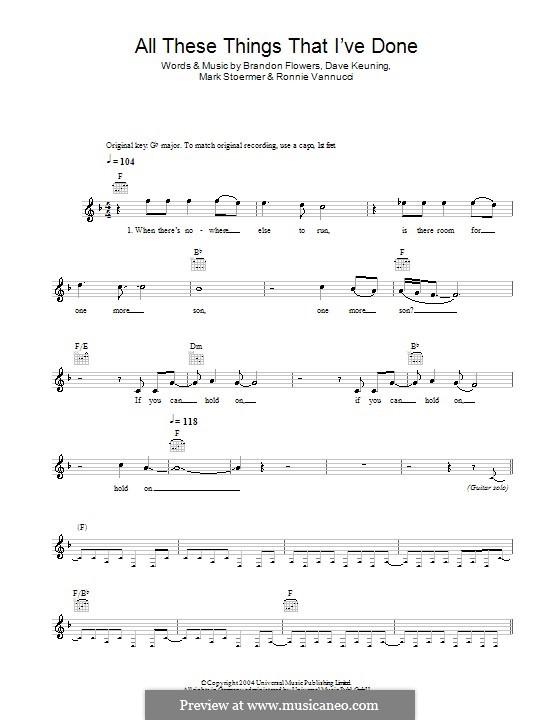 ALL THESE THINGS I'VE DONE Chords - The Killers | E-Chords