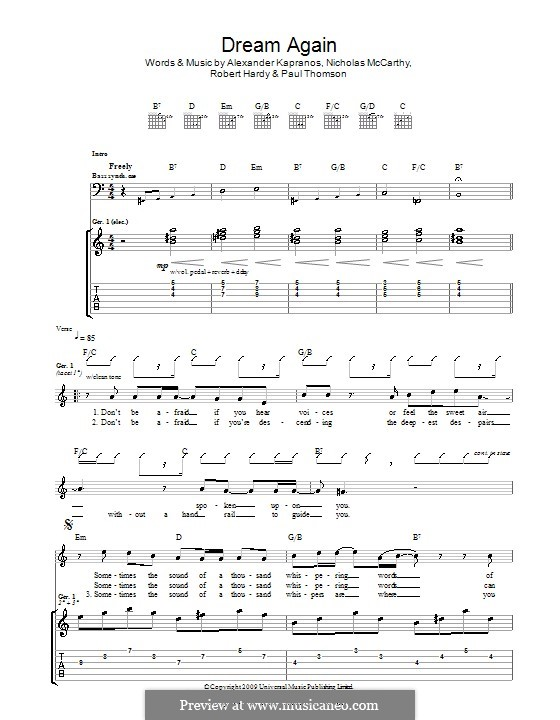 Dream Again (Franz Ferdinand): For guitar with tab by Alexander Kapranos, Nicholas McCarthy, Paul Thomson, Robert Hardy