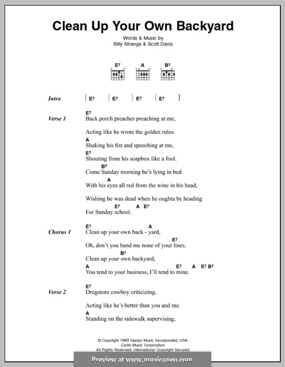 clean up your own backyard elvis presley lyrics and chords by billy