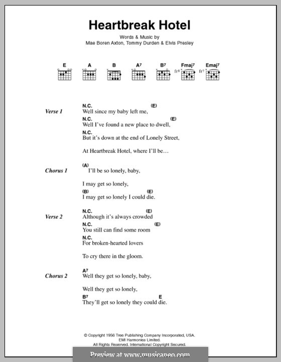 Heartbreak Hotel (Elvis Presley): Lyrics and chords by Mae Boren Axton, Tommy Durden