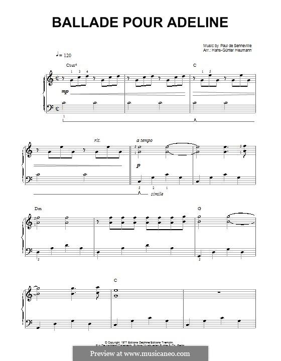 Sheet Music For Ballade Pour Adeline Ballade Pour Adeline For