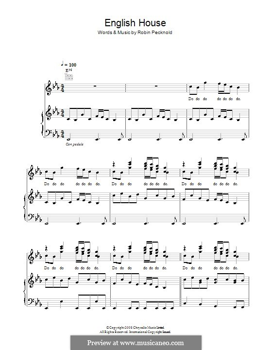 English house fleet foxes by r pecknold sheet music for English house music