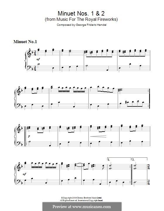 Fireworks Music, HWV 351: Minuets No.1-2. Version for piano by Georg Friedrich Händel