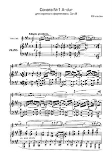 Sonata for Violin and Piano No.1 in A Major, Op.9: Score, solo part by Carl Nielsen