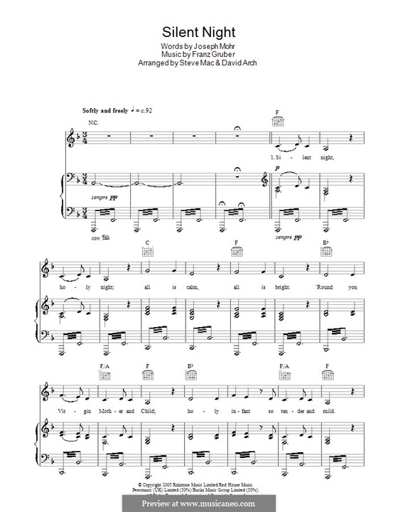 Silent Night (Printable): For voice and piano or guitar (F Major) by Franz Xaver Gruber