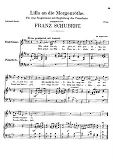 Lilla to the Dawn, D.273: Lilla to the Dawn by Franz Schubert