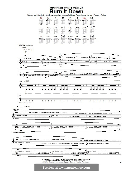 Guitar guitar tabs avenged sevenfold : Burn It Down (Avenged Sevenfold) by B. Haner Jr., J. Sullivan, M ...