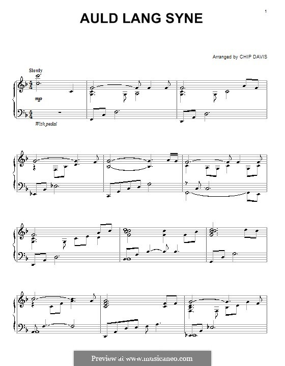 Auld Lang Syne: For piano by folklore
