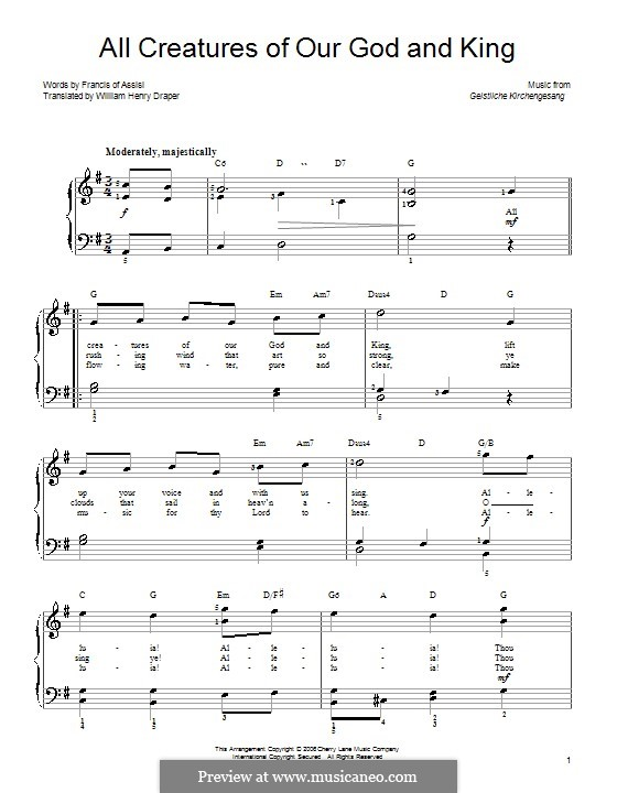 All Creatures of Our God and King: For piano (G Major) by Unknown (works before 1850)