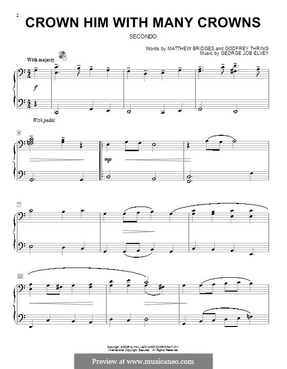 Crown Him with Many Crowns: For piano four hands by George Job Elvey