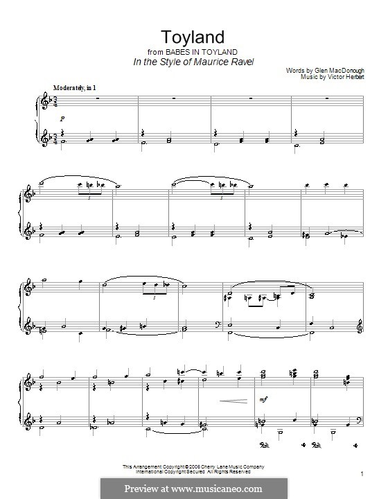 Babes in Toyland: Toyland, for piano by Victor Herbert