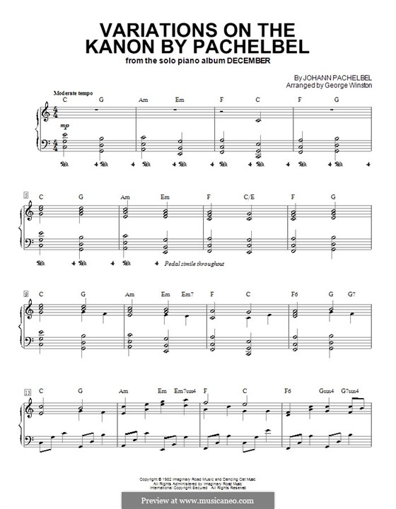 Canon in D Major: For piano with chords by Johann Pachelbel