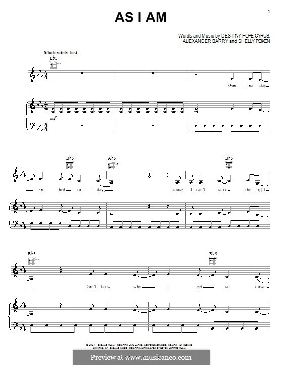 As I am (Hannah Montana): For voice and piano (or guitar) by Alexander Barry, Destiny Hope Cyrus, Shelly Peiken