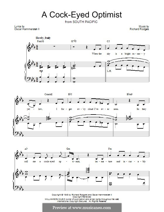 A Cockeyed Optimist: For voice and piano (or guitar) by Richard Rodgers