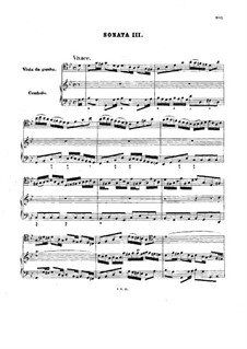 Sonata for Viola da Gamba and Harpsichord No.3 in G Minor, BWV 1029: Score by Johann Sebastian Bach