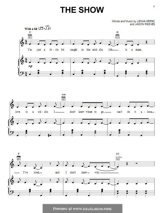 Sheet music showing piano keys