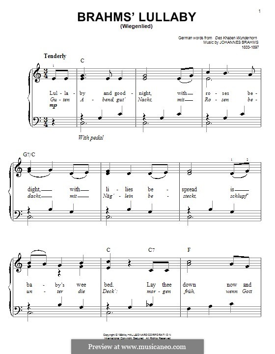 No.4 Cradle Song: For easy piano with chords by Johannes Brahms