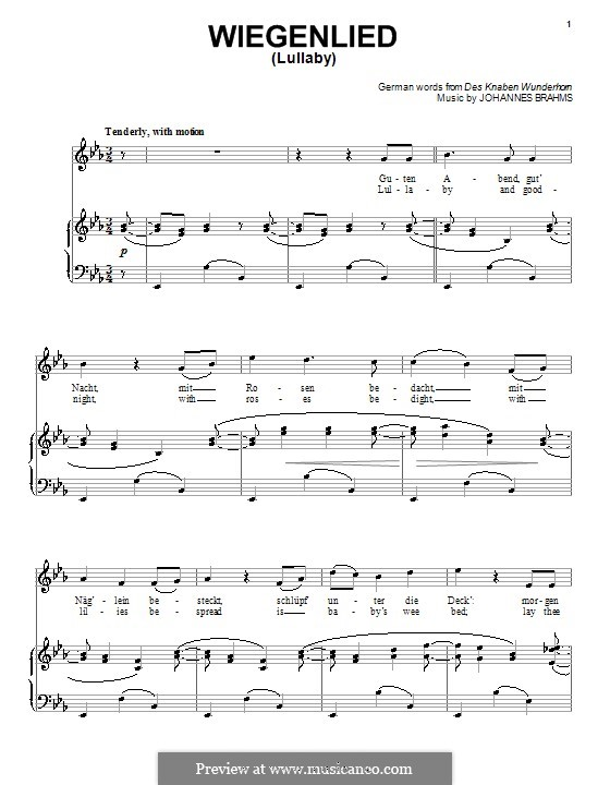 No.4 Cradle Song: For voice and piano (or guitar) by Johannes Brahms