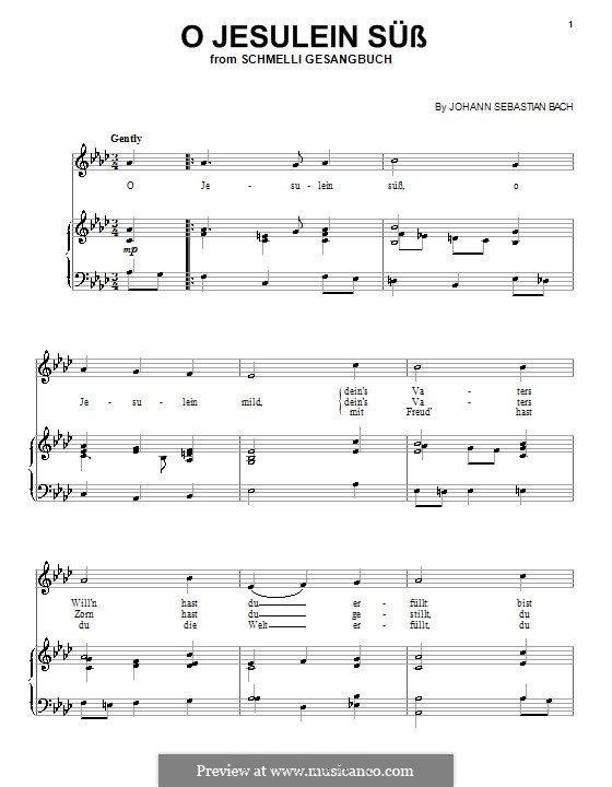 O Jesulein süss, BWV 493: Für Stimme und Klavier (oder Gitarre) by Johann Sebastian Bach