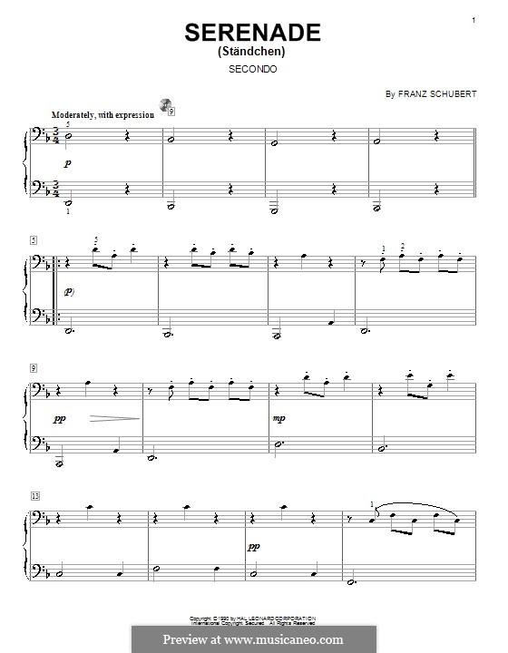 No.4 Ständchen (Serenade): For piano by Franz Schubert